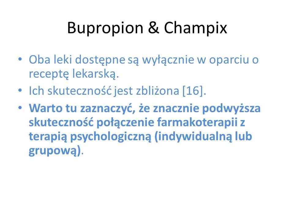 Bupropion & Champix Oba leki dostępne są wyłącznie w oparciu o receptę lekarską. Ich skuteczność jest zbliżona [16].